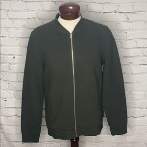 H&M MENS GREEN ZIP-UP SWEATER SIZE M